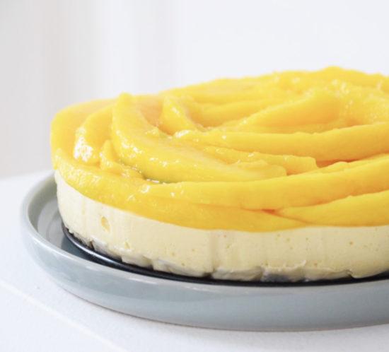 Glutenvrije en lactosevrije mango kwarktaart